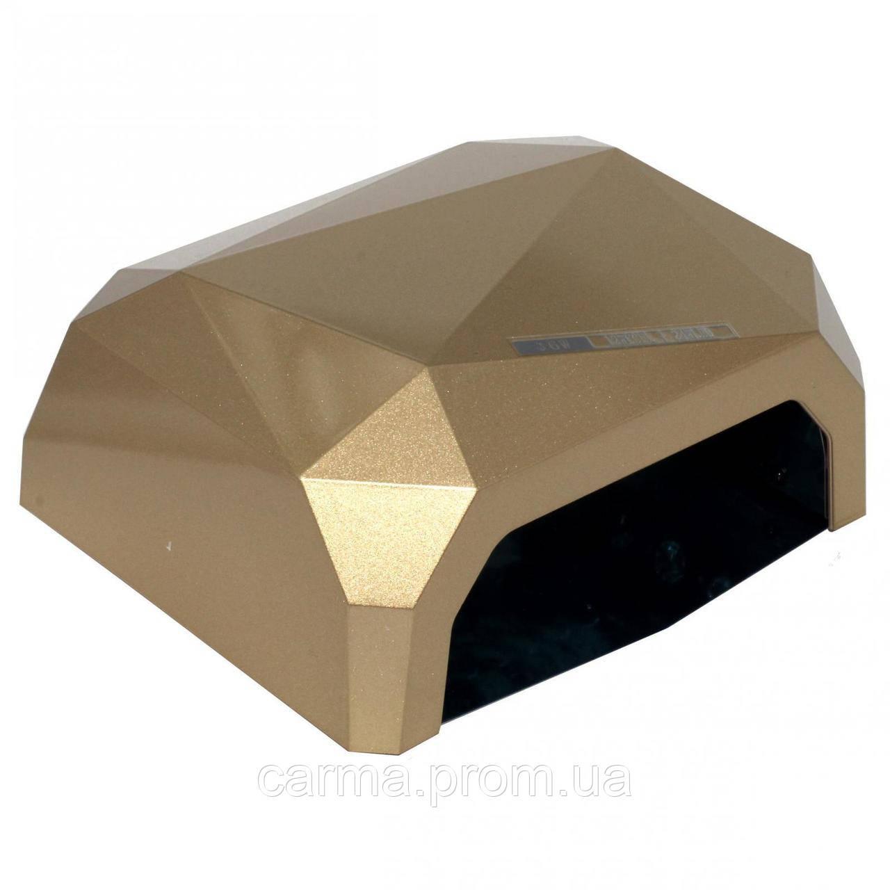 Лампа для маникюра гибридная DIAMOND CCFL+LED 36W Золотая