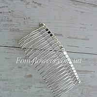 Гребінь для волосся металевий, сріблястий, фото 1
