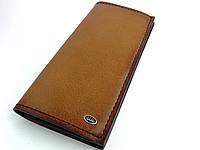 Кожаный мужской/женский кошелек Caddy Lux ручной работы коричневого цвета TsarArt с ручным швом и лого серебра