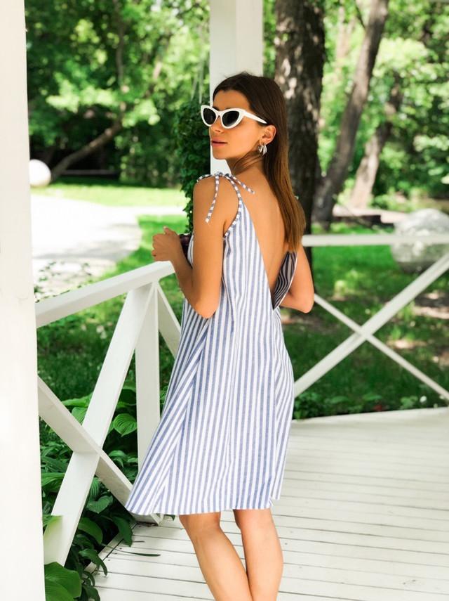 ecb56c9ede90084 Платье женское летнее модное лен в полоску мини Smdi3411. Большой выбор  модных платьев на нашем сайте.