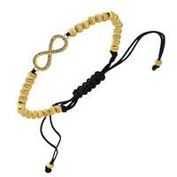 Женский браслет Бескончность шамбала с шариками золотого цвета из стали