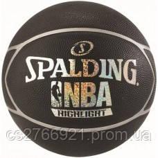 М'яч баскетбольний Spalding NBA Highlight Black/Silver Size 7
