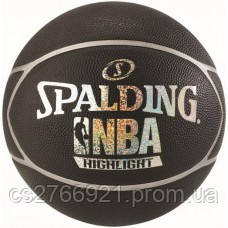 М'яч баскетбольний Spalding NBA Highlight Black/Silver Size 7, фото 2