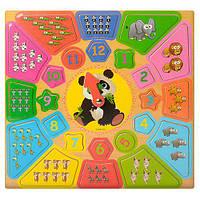 Деревянная игрушка Часы MD 1212  2вида(фрукты-ягоды,животные), в кульке, 29-29-1см/31-31-1см