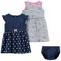 Набор 2 платья с трусиками для девочки Carters темное и светлое