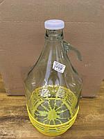 Бутыль с пластиковой затычкой и корзиной, 5 л.