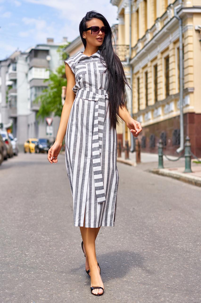 78a8681050b0b9f Эффектное Платье Рубашка из Льна в Полоску Серое S-XL - купить по ...