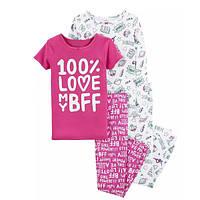 Набор из 2х хлопковых пижам для девочки Carters 100% любовь