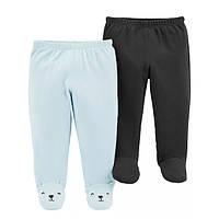 Набор хлопковые штаны ползунки для мальчика Carters голубой и черный