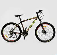 """Велосипед Спортивный CORSO DRAGON 26""""дюймов JYT010 - 1074 BLACK-YELLOW рама алюминиевая, 21 скорость"""