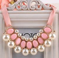 Підвіска, кольє, намисто на атласній стрічці, рожевий колір