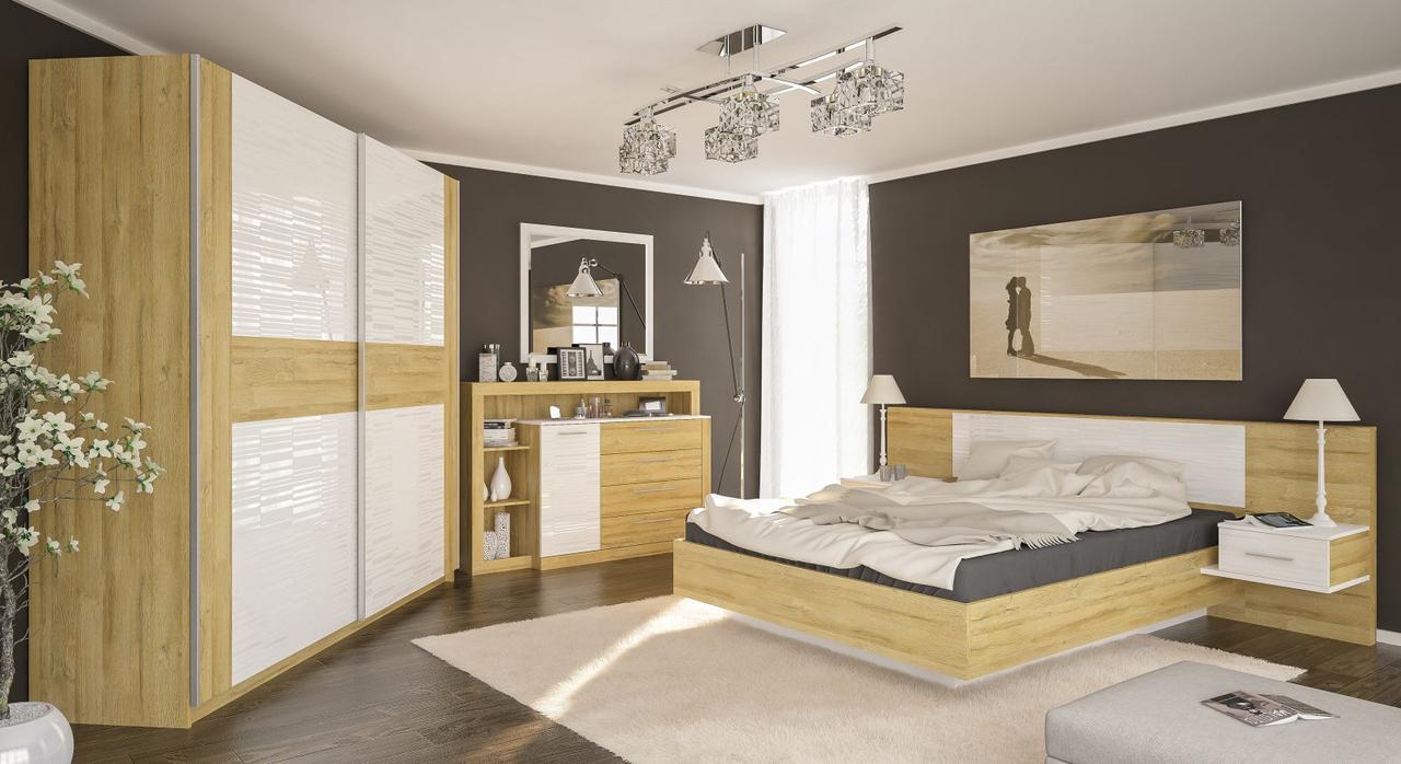 Спальня Фиеста Дуб Золотой + каркас ламель