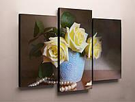 Картина модульная настенный декор для спальни Розы желтые Жемчуг 90х60 из 3х частей