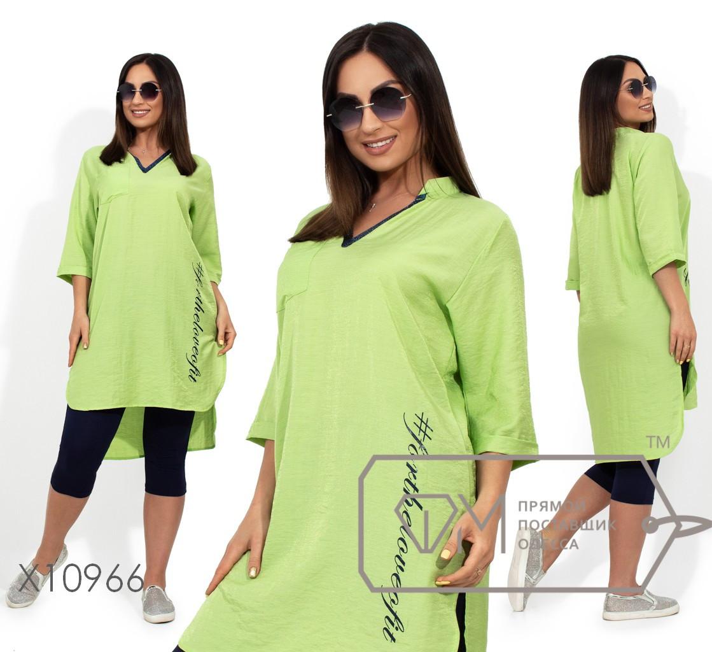 Жіночий комплект з тунікою і бриджами з віскози салатовий