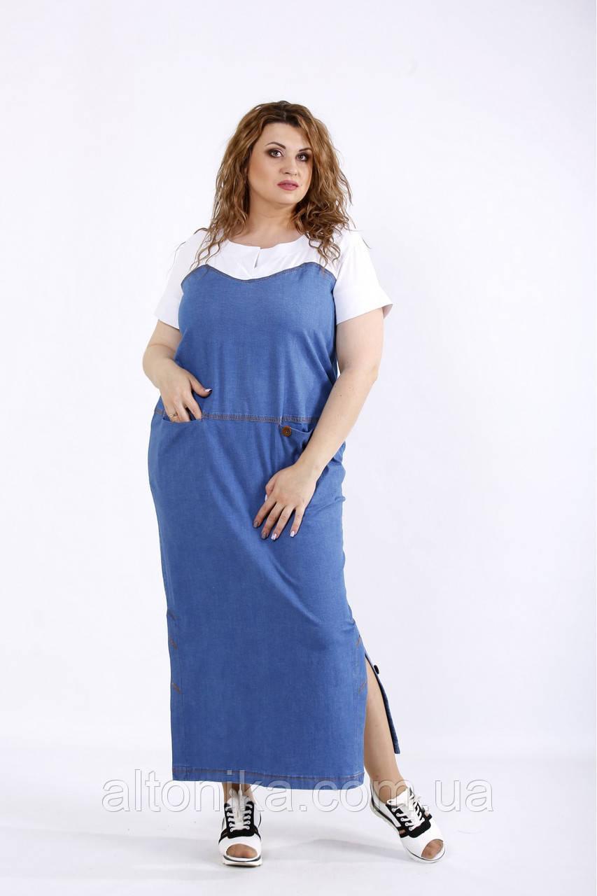Длинное модное джинсовое платье / 42-74