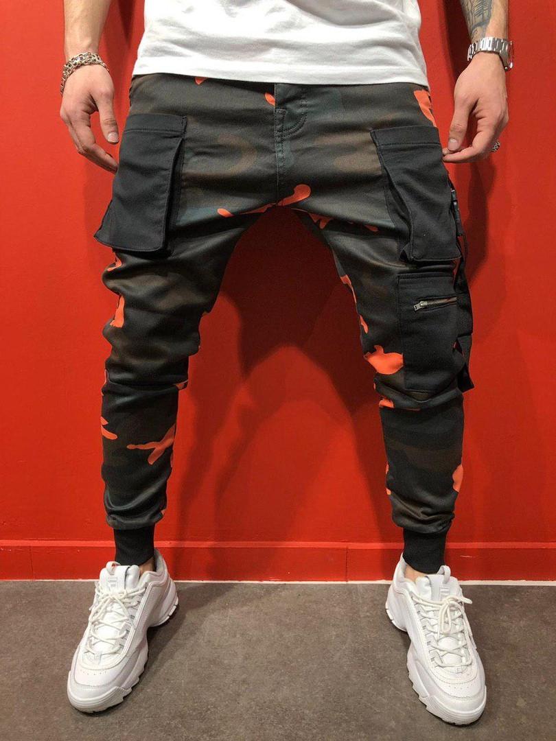 Мужские стильные джинсы (черно-зеленые) - Турция