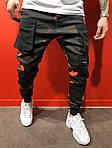 Мужские стильные джинсы (черно-зеленые) - Турция, фото 3