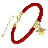 Браслет червона нитка Китайський ліхтарик під золото 21 см 143691
