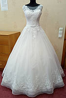 69.4 Шикарное белое свадебное платье с кружевом и юбкой на корсе,  размер 48
