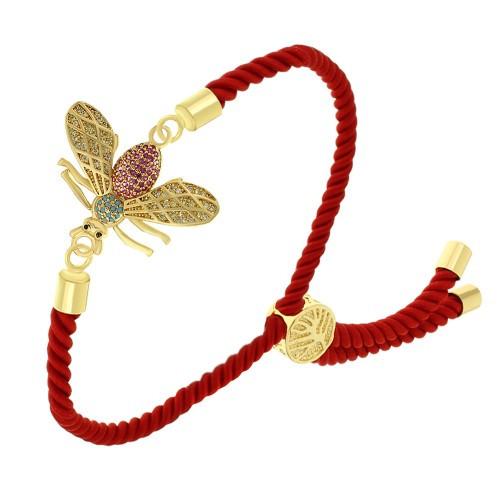 Тонкий женский браслет-фенечка Золотая муха из витого красного шнура 24 см