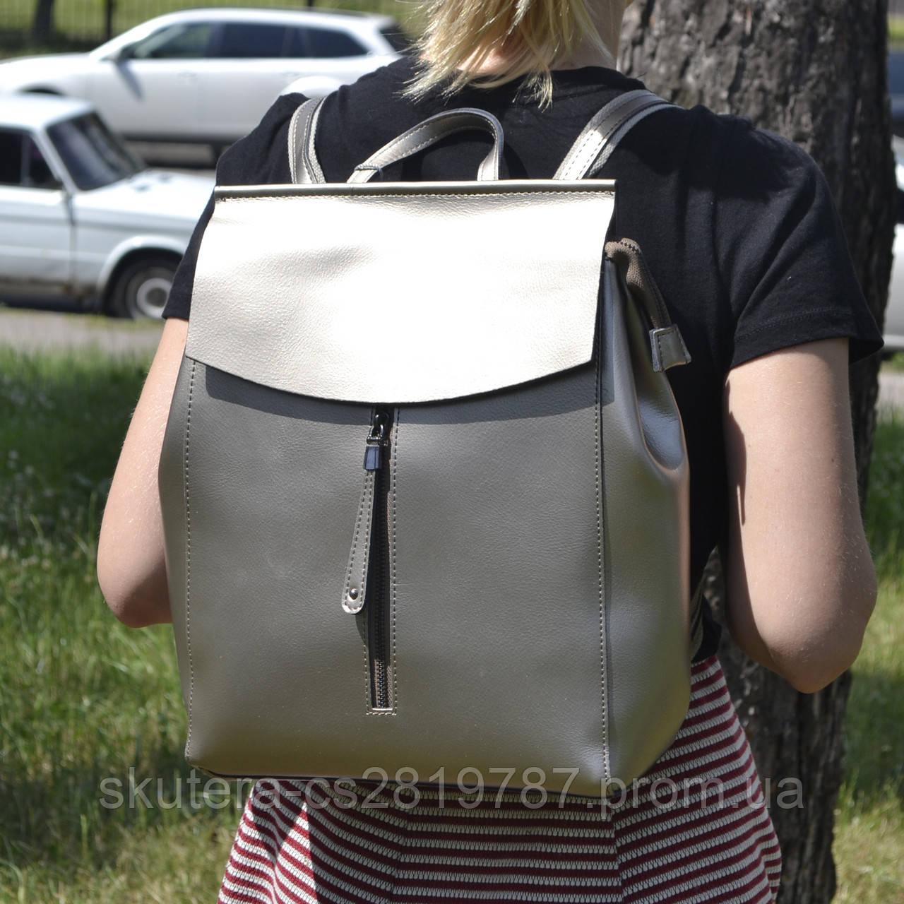cbc4c72bd4f6 Женский кожаный рюкзак-сумка серебро
