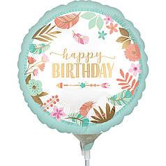 Мини-фигура ANAGRAM-АН Круг Happy Birthday - сатин голубой