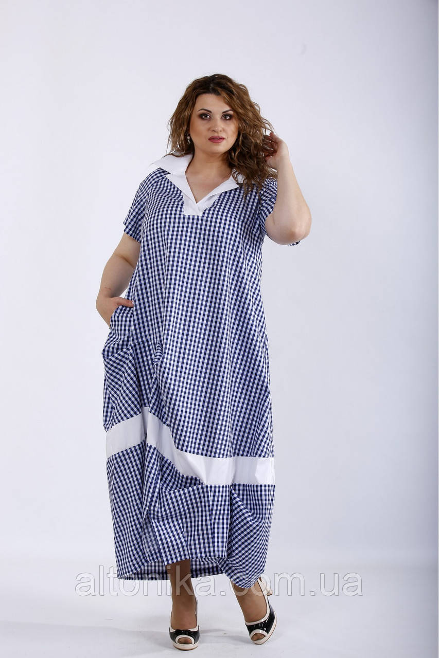 Женское красивое платье в клетку / 42-74