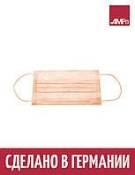 Маска медицинская MED COMFORT Ampri 3-слойная на резинке 10 УП 500 шт оранжевая, фото 1