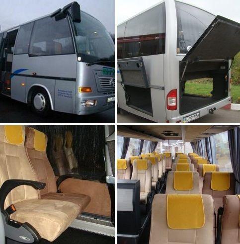 Автобус для небольших групп Mercedes-Benz Atehgo (26 + 1 место ), баз. тариф на перевозкм по Европе  0,7 – 0,8 евро / 1 км пути