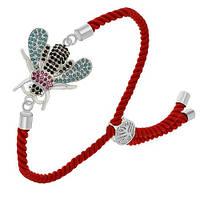 Стильный повседневный браслет-фенечка Серебряная муха из витого красного шнура
