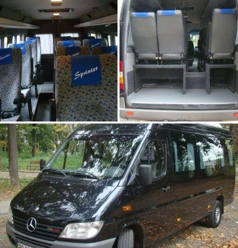 Микроавтобус  Mercedes-Benz Sprinter ( 16 мест ), базовый тариф на перевозку пассажиров по Европе  ― 0,5-0,6 евро/км