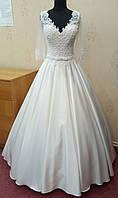 70.3 Стильное белое свадебное платье с вышивкой, рукавом 3/4 и карманами,  размер 46