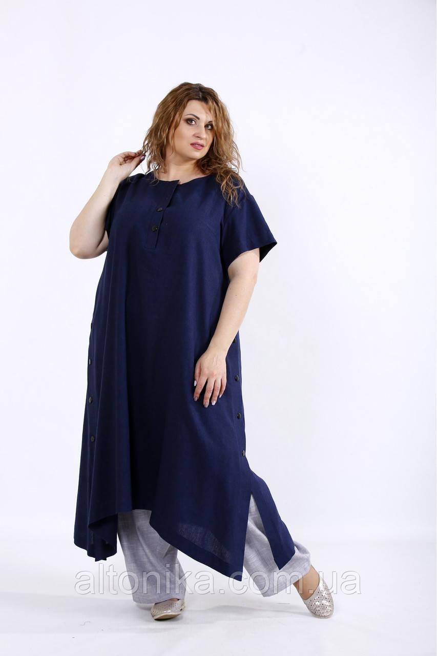 Льняной женский легкий комплект: туника и штаны / 42-74