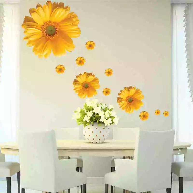 """Наклейка на стіну, вінілові наклейки, стікери """"Жовті хризантеми 11шт"""" на прозорій основі (лист 45*60см)"""