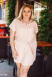 Летнее платье-рубашка из льна розовое, фото 2