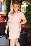 Летнее платье-рубашка из льна розовое, фото 3