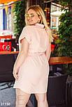 Летнее платье-рубашка из льна розовое, фото 4