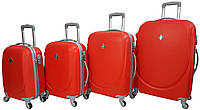Набор пластиковых дорожных чемоданов на колесах Bonro Smile 4 штуки красный
