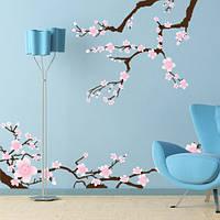 Виниловая интерьерная наклейка на обои Ветки сакуры (декоративное дерево стена самоклеющаяся пленка) матовая