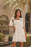 Шифоновое легкое платье в гороховый принт белое, фото 3