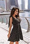 Легке шифонове плаття в гороховий принт чорне, фото 2