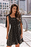 Легке шифонове плаття в гороховий принт чорне, фото 3