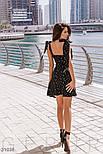 Легке шифонове плаття в гороховий принт чорне, фото 4