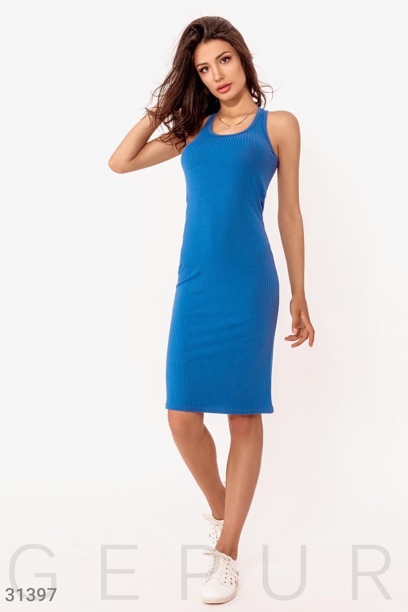 Облегающее платье-миди из трикотажа синее