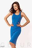 Облегающее платье-миди из трикотажа синее, фото 3