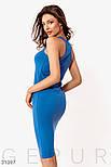 Облегающее платье-миди из трикотажа синее, фото 4