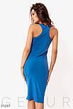 Облегающее платье-миди из трикотажа синее, фото 5