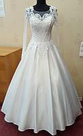70.4 Атласное белое свадебное платье с кружевом и длинным рукавом,  размер 46, небольшой рост, б/у