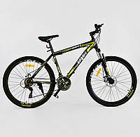 """Велосипед Спортивный CORSO SPIRIT 26""""д JYT001 - 2261 BLACK-YELLOW рама металлическая, 21 скорость"""