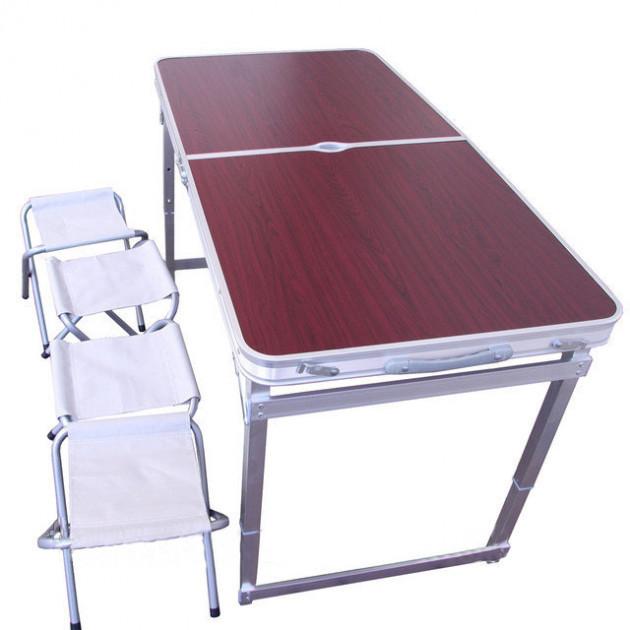 Стол алюминиевый раскладной для пикника + 4 стула (Чемодан) Усиленный